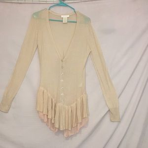 Miss me couture cardigan ruffle bottom two tone M